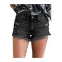 Hot Fashion Trendy Ripped Detail Fringed Hem Hot Pants Denim Shorts