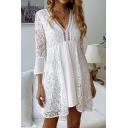 Women's Trendy White Sexy Plunge Neck Three-Quarter Sleeve Mini A-Line Lace Dress