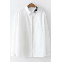 Cute Cartoon Cat Embroidered Collar Long Sleeve White Button Down Shirt