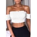 Fashion Off The Shoulder Short Sleeve Elastic Sashed Plain Cropped Bandeau Top