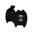 Stylish Letter SOUTH SIDE Snake Print Back Logo Chest Loose Casual Hoodie
