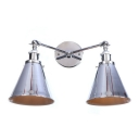 Horn Shade Wall Mount Light Modern Fashion Steel 2 Light Double Wall Sconce in Chrome Finish