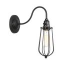 Industrial Metal Frame Wall Lamp with Gooseneck Single Light Wall Lighting in Black for Restaurant