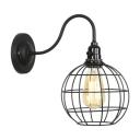 Industrial Gooseneck Sconce Light with Global Metal Cage 1 Head Lighting Fixture in Black