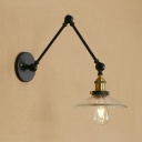 1 Light Adjustable Arm Wall Lighting with Glass Shade Industrial Wall Light Fixture in Brass Finish