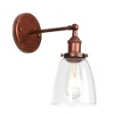 Rust Finish Dome Wall Mount Fixture Vintage Concise 1 Light Lighting Fixture with Glass Shade