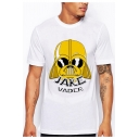 Men's Cool Jake Vader Pattern Basic Short Sleeve Relaxed Loose White T-Shirt