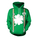 Green 3D St.Patrick's Day Leaf Printed Long Sleeve Casual Drawstring Hoodie