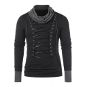 Men's Awesome Cowl Neck Long Sleeve Fashion Grommet Lace-Up Front Black Slim T-Shirt