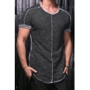 Fashion Contrast Piping Frayed Hem Short Sleeve Round Neck Slim Fit T-Shirt for Men