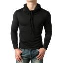 Basic Simple Plain Long Sleeve Drawstring Hooded Slim Black T-Shirt for Men