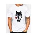 Funny Wolf Rose Pattern Men's Basic White Short Sleeve T-Shirt