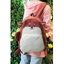 Students School Fashion Cute Cartoon Fox Dog Design Corduroy Backpack 28*12*41cm