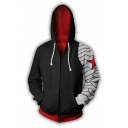 New Trendy Cool 3D Colorblock Cosplay Black Zip Up Hoodie