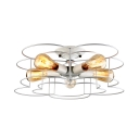 Modern Kitchen 5 Light Ceiling Light White Metal Frame Floral Shade Semi Flush Mount Ceiling Light Fixture