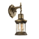 1 Head Lantern Style Wall Lamp Industrial Metallic Wall Mount Fixture in Antique Brass for Balcony