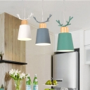 Antler 3 Heads Hanging Lamp with Linear Canopy Multi Color Metallic Suspended Light for Coffee Shop