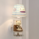 White Finish Strips Design Table Lamp with Cute Bear Fabric Shade 1 Head Standing Table Light for Kids