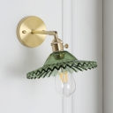 Single Head Scalloped Lighting Fixture with Green Glass Shade Modernism Sconce Lighting