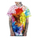 Fashion 3D Colorful Painting Print Loose Casual Short Sleeve White T-Shirt