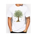 Unique Greenback Tree Pattern White Round Neck Short Sleeve Casual T-Shirt