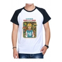 Round Neck Colorblock Raglan Sleeve Cartoon Letter EXPAND YOUR MIND Pattern White T-Shirt