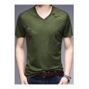 Men's Fashion Jacquard V-Neck Short Sleeve Casual Fitted T-Shirt