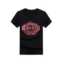 Retro Cool Letter THE FASHION BINYUXD Print Men's Basic Short Sleeve Cotton T-Shirt