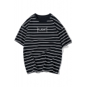 Simple Letter FLIGHT Fashion Striped Printed Summer Loose Fit Relaxed T-Shirt