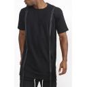 Guys Cool Webbing Embellished Simple Plain Short Sleeve Cotton Loose Black T-Shirt