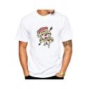 Funny Cartoon Letter PIZZA ADDICTED Pattern Basic Short Sleeve White T-Shirt
