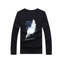 Men's Stylish Feather Letter MORE RESPECT LESS ATTACK Print Long Sleeve T-Shirt