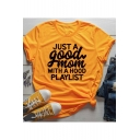 Simple Letter JUST A GOOD MOM Print Basic Short Sleeve Loose Fit T-Shirt