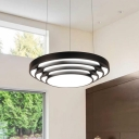 PMMA Round Shade Hanging Pendant Modern Style Black Finish LED Suspension Light 20in Width