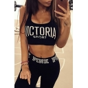 Hollow Back Sleeveless Round Neck Letter Printed Sports Cropped Tank
