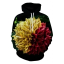Popular 3D Floral Printed Long Sleeve Drawstring Hoodie for Couple