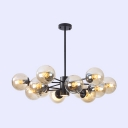 Ball Shape Chandelier Post Modern Industrial Metal 8 Light Chandelier for Bar Kitchen