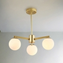 3 Light Ball Shape Hanging Light Post Modern Glass Chandelier in Gold for Bedroom