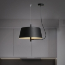 Tapered Shade Hanging Light Concise Simple Length Adjustable 2 Light Iron Pendant Light