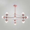 Rose Gold Finish Branching Chandelier Post Modern Metal Hanging Light for Sitting Room