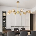 Bubble Suspension Lamp Stylish Vintage Metallic 8 Light Drop Lamp in Gold for Restaurant