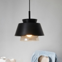 Designers Style Cone Pendant Lamp Single Light Hanging Lamp in Black with Inner Glass