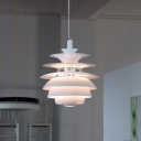 Tiered Shade Hanging Light Post Modern Unique Metal Ceiling Light for Living Room
