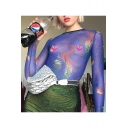 Sexy Round Neck Long Sleeve Dragon Printed Sheer Blue Tee