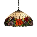 Tiffany-Style Hummingbirds and Floral Hanging Pendant with Colorful Art Glass Shade, 16