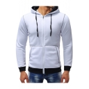 Classic Contrast Trim Long Sleeve Slim Fitted Zip Hoodie with Pockets