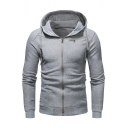 New Arrival Classic Long Sleeve Full Zip Front Basic Solid Fitted Drawstring Hoodie