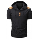 Unique Short Sleeve Contrast Patched Shoulder Button Embellished Front Casual Hoodie