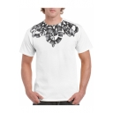 Slim Short Sleeve Round Neck Pattern Casual Sports Tee for Men