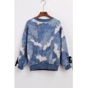 All Over Crane Printed Round Neck Long Sleeve Bow Embellished Leisure Pullover Blue Sweatshirt